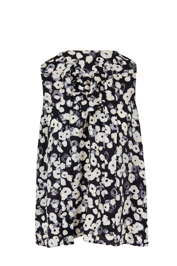 Derek Lam Black & Ivory Lace Up Floral Print Blouse