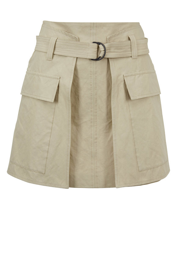 Brunello Cucinelli Sand Stretch Cotton Belted Mini Skirt