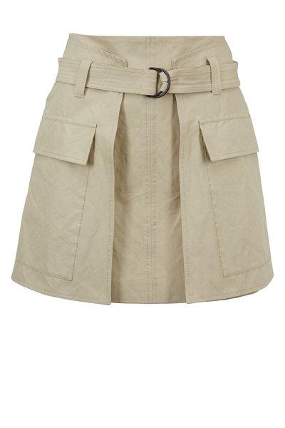 Brunello Cucinelli - Sand Stretch Cotton Belted Mini Skirt