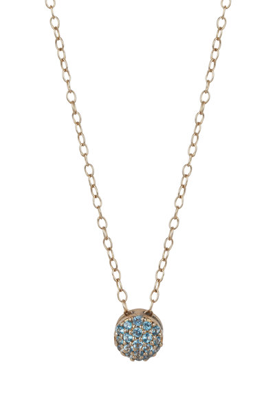 Sandy Leong - 18K Yellow Gold March Birthstone Pendant Necklace