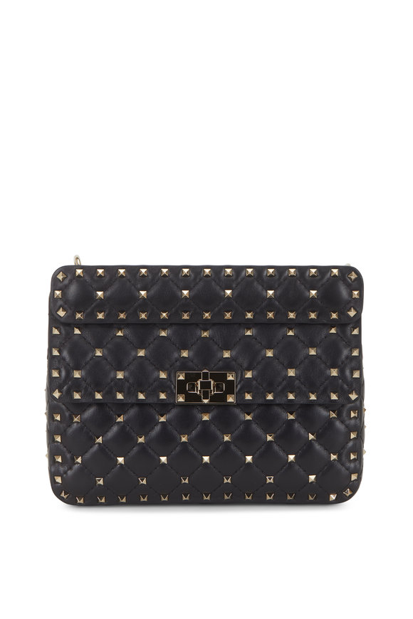 Rockstud Black Gunmetal Studded Medium Bag