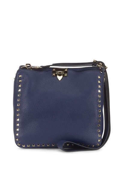 Valentino Garavani - Rockstud Pure Blue Leather Small Hobo Crossbody