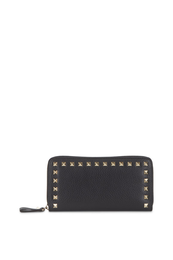Valentino Garavani Rockstud Black Grained Leather Zip-Around Wallet