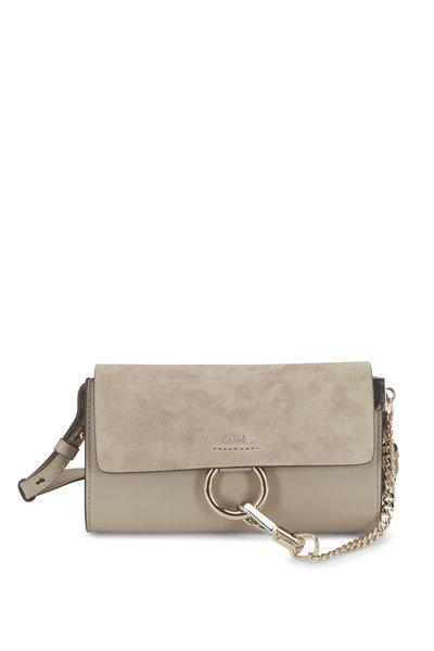 Chloé - Faye Nano Gray Leather & Suede Mini Crossbody