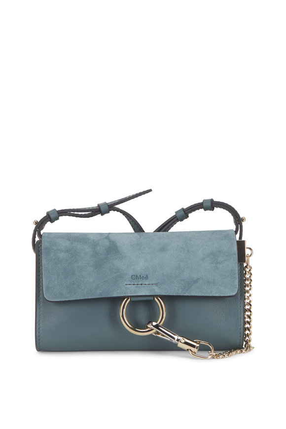 Chloé Faye Nano Cloudy Blue Leather & Suede Crossbody