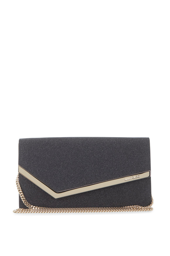 Jimmy Choo Emmie Black Fine Glitter Clutch