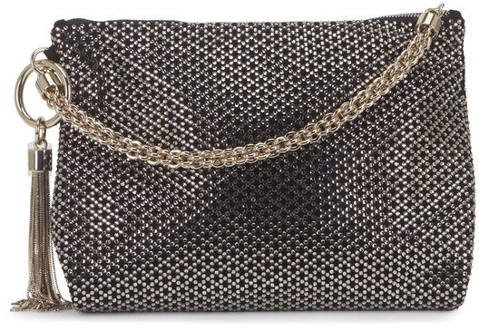 Jimmy Choo Callie Black Suede & Diamond Crystal Evening Bag