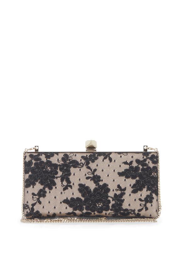 Jimmy Choo Celeste Black Floral Lace Cube Clasp Clutch