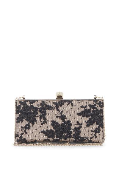 Jimmy Choo - Celeste Black Floral Lace Cube Clasp Clutch
