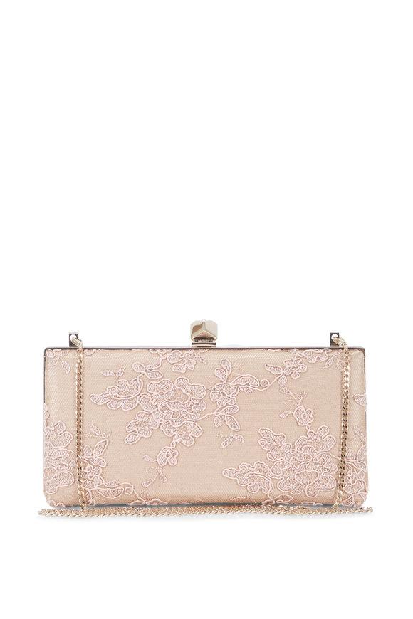 Jimmy Choo Celeste Ballet Pink Floral Lace Cube Clasp Clutch
