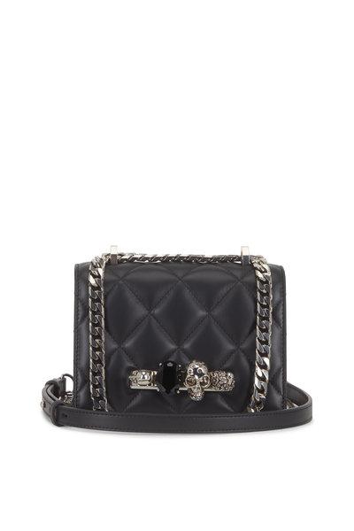 Alexander McQueen - Black Quilted Leather Jeweled Knuckle Shoulder Bag