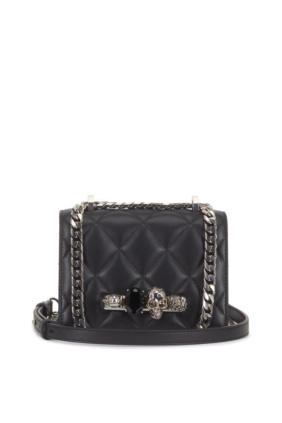 Alexander McQueen Black Quilted Leather Jeweled Knuckle Shoulder Bag
