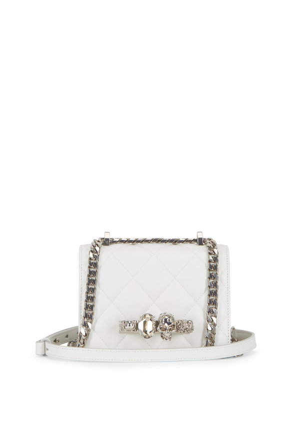 Alexander McQueen White Quilted Leather Jeweled Knuckle Shoulder Bag
