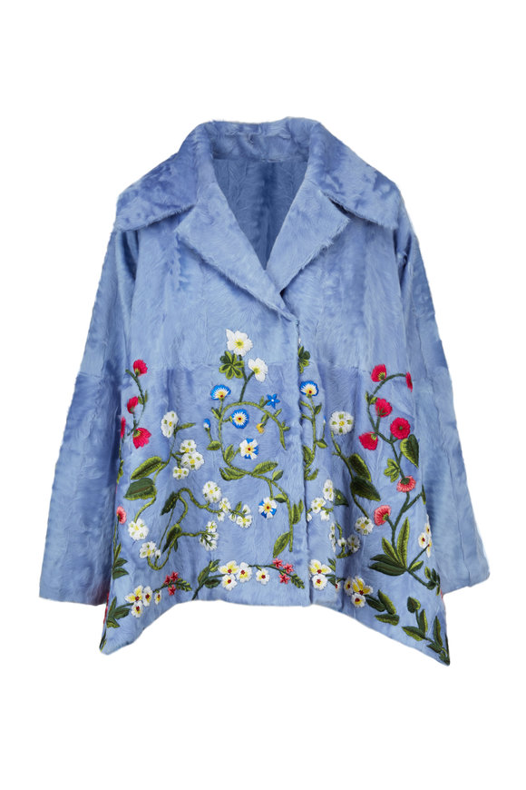 Oscar de la Renta Furs Wedgewood Blue Garden Embroidered Fur Coat