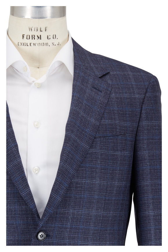Canali Navy Tonal Plaid Wool Sportcoat
