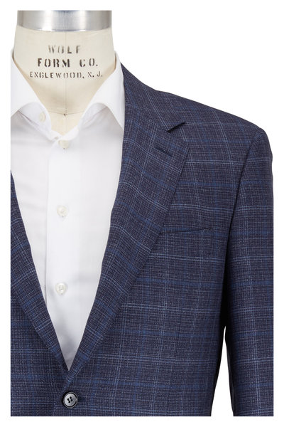 Canali - Navy Tonal Plaid Wool Sportcoat