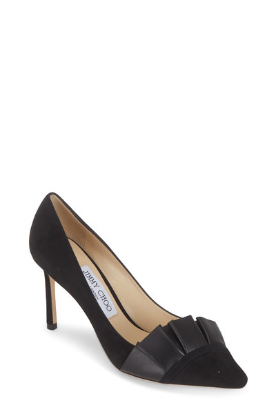 Jimmy Choo - Leena Black Suede Pleated Detail Pump, 85mm