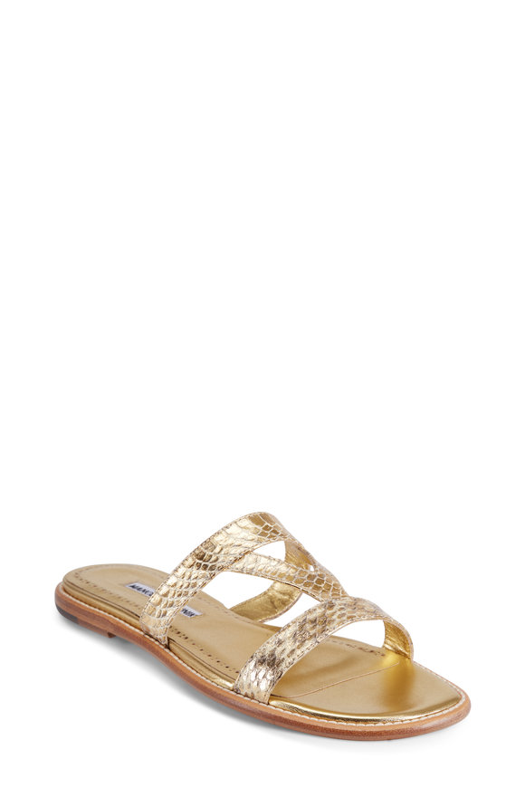 Manolo Blahnik Fionda Gold Wash Watersnake Flat