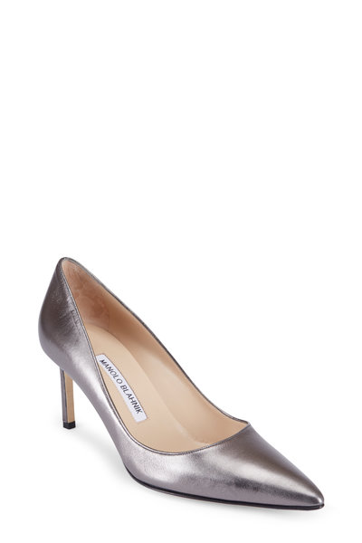 Manolo Blahnik - Lisa Anthracite Leather Pump, 70mm