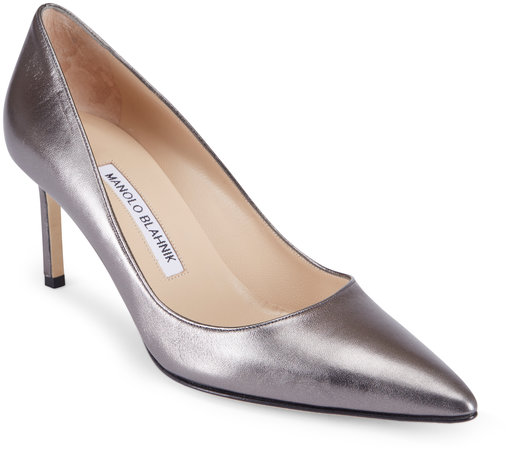 Manolo Blahnik Lisa Anthracite Leather Pump, 70mm