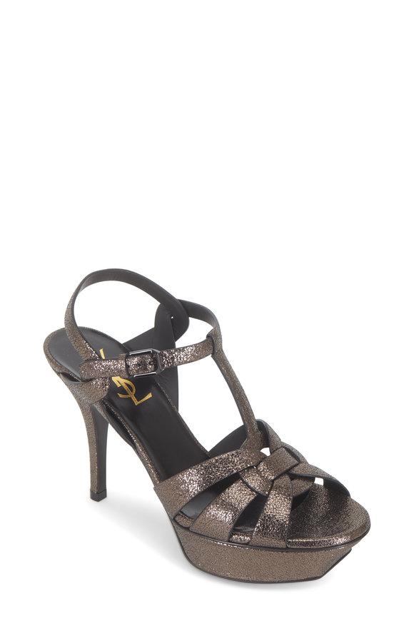Saint Laurent Tribute Gunmetal Metallic Leather Sandal, 75mm