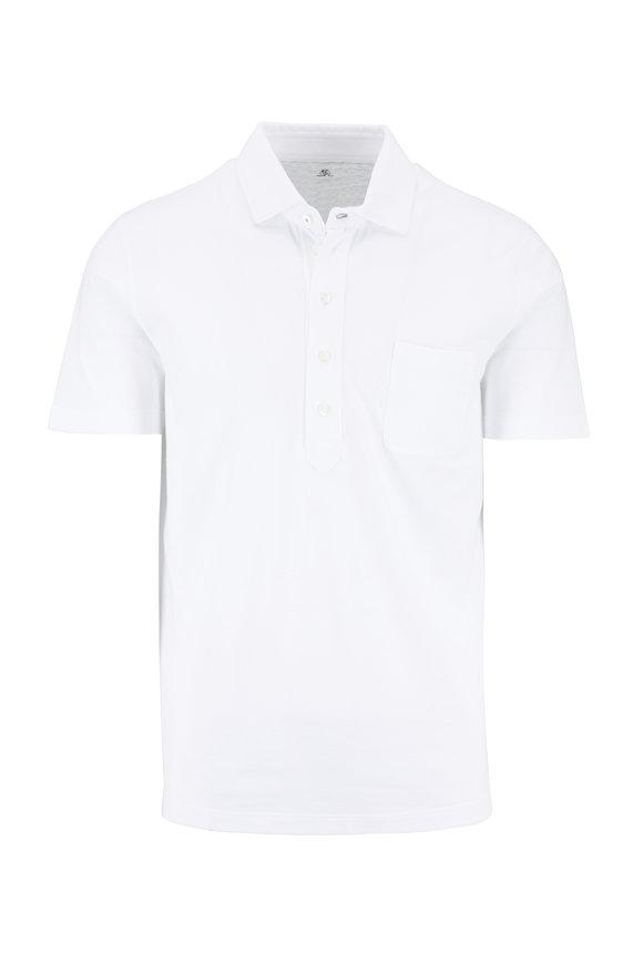 Brunello Cucinelli White Piqué Slim Fit Polo