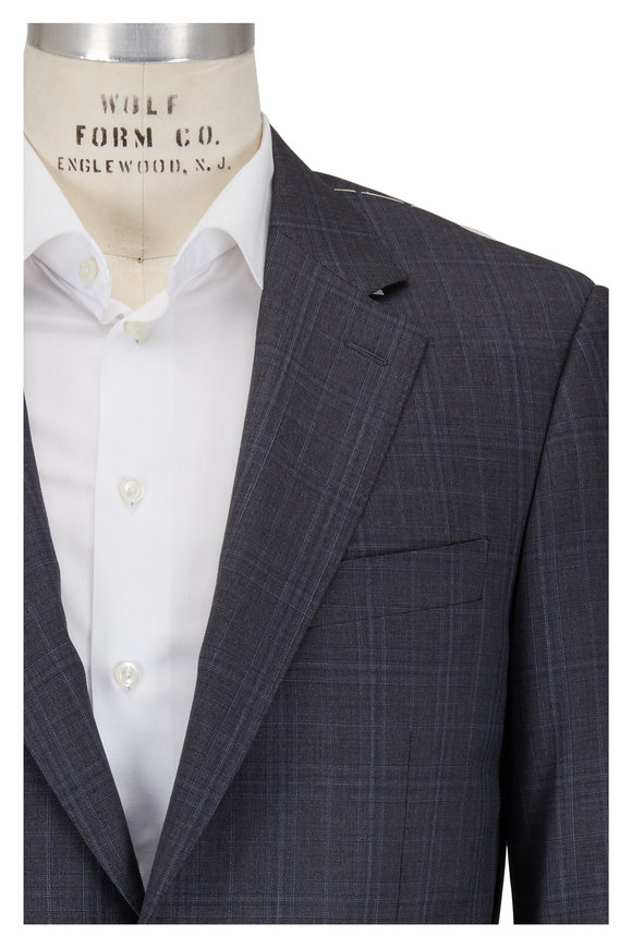 Canali Grey Plaid Wool Suit