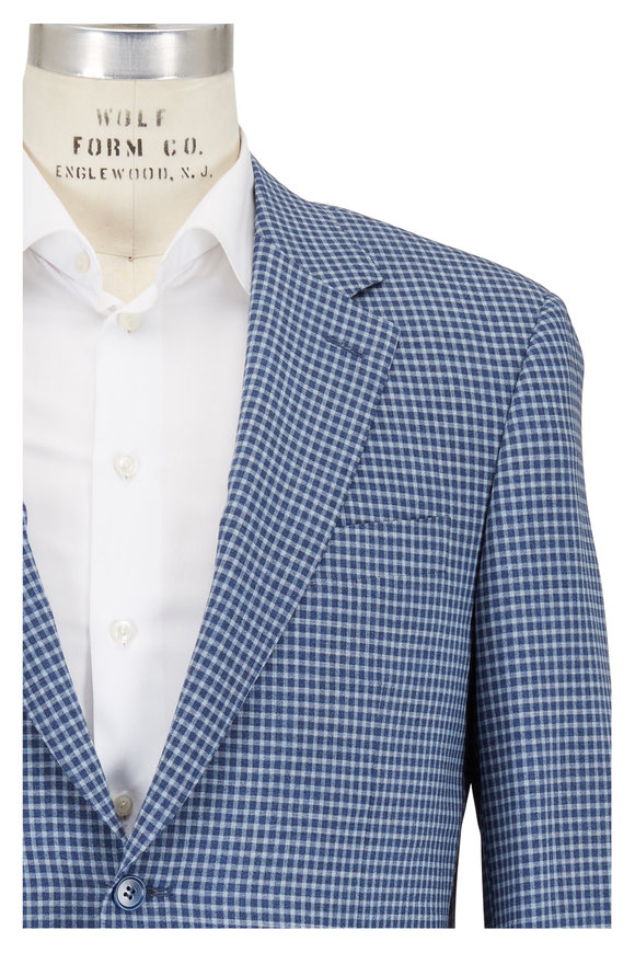 Canali Blue & White Check Wool Sportcoat