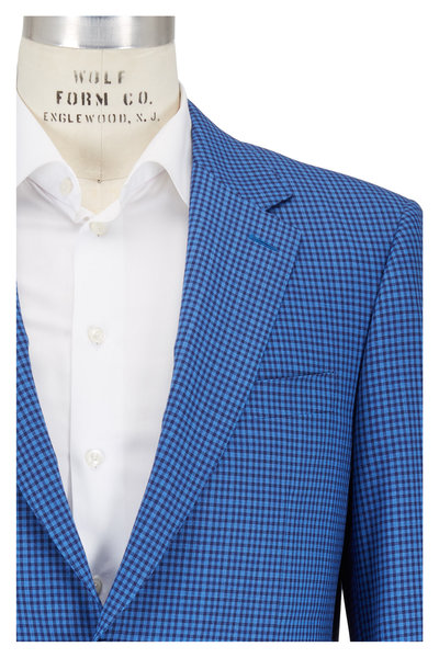 Canali - Blue & Navy Check Wool Sportcoat