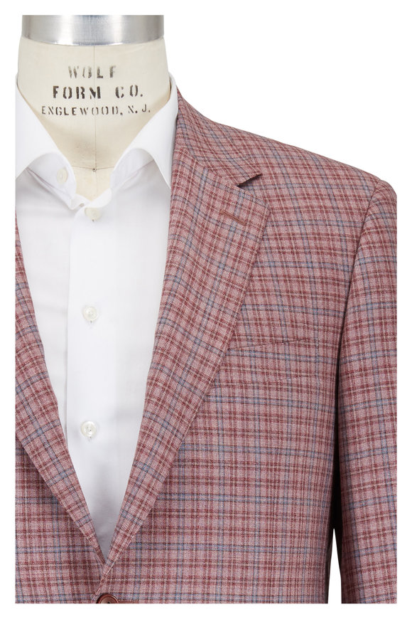 Canali Rose & Blue Check Wool Sportcoat