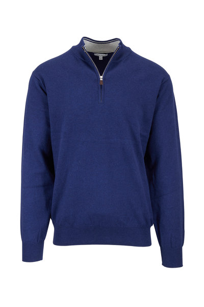 Peter Millar - Crown Navy Blue Soft Quarter-Zip Pullover