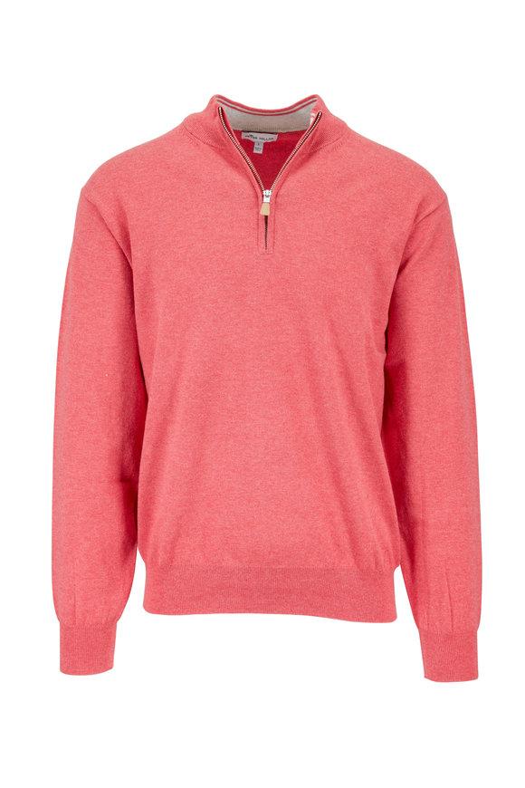 Peter Millar Crown Cape Red Soft Quarter-Zip Pullover