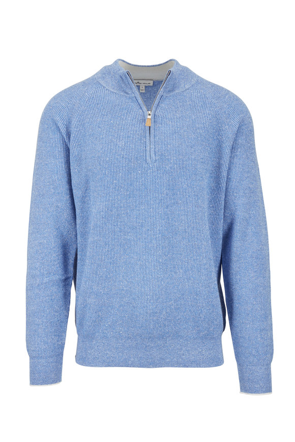 Peter Millar Crown Cool Blue Cashmere & Linen Quarter-Zip