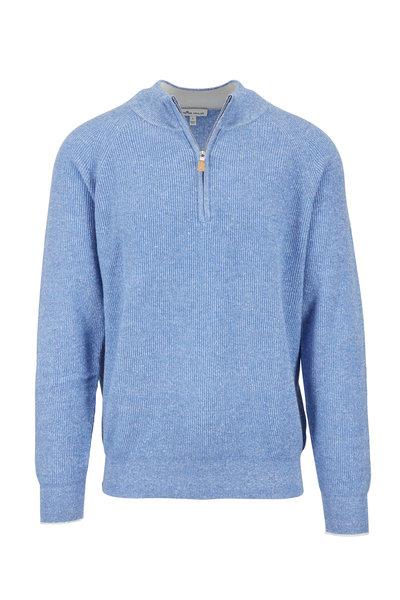 Peter Millar - Crown Cool Blue Cashmere & Linen Quarter-Zip
