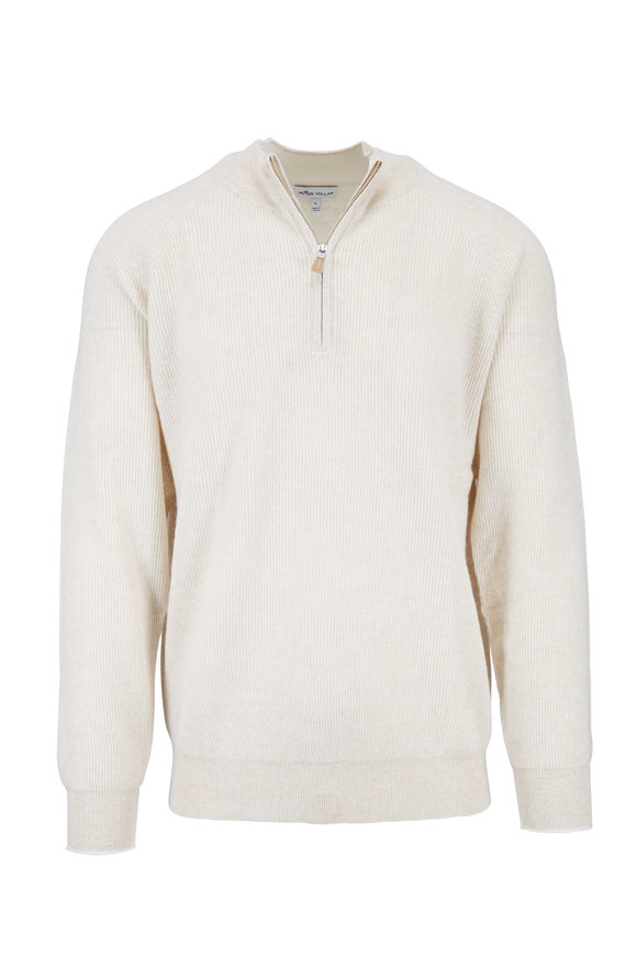Peter Millar Crown Cool Sand Cashmere & Linen Quarter-Zip