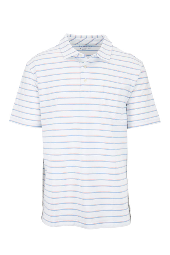 Peter Millar Seaside White Striped Cape May Polo