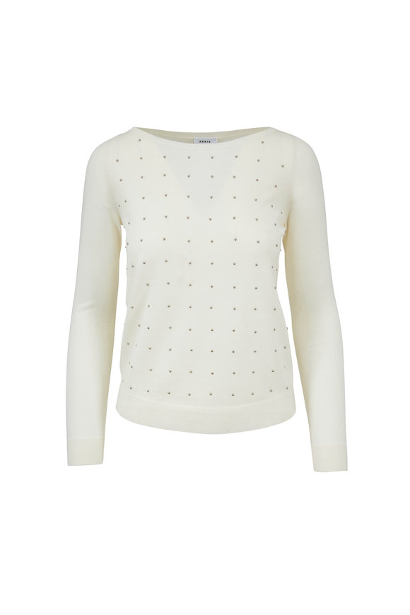 Akris Punto Cream Wool Studded Bateau Sweater