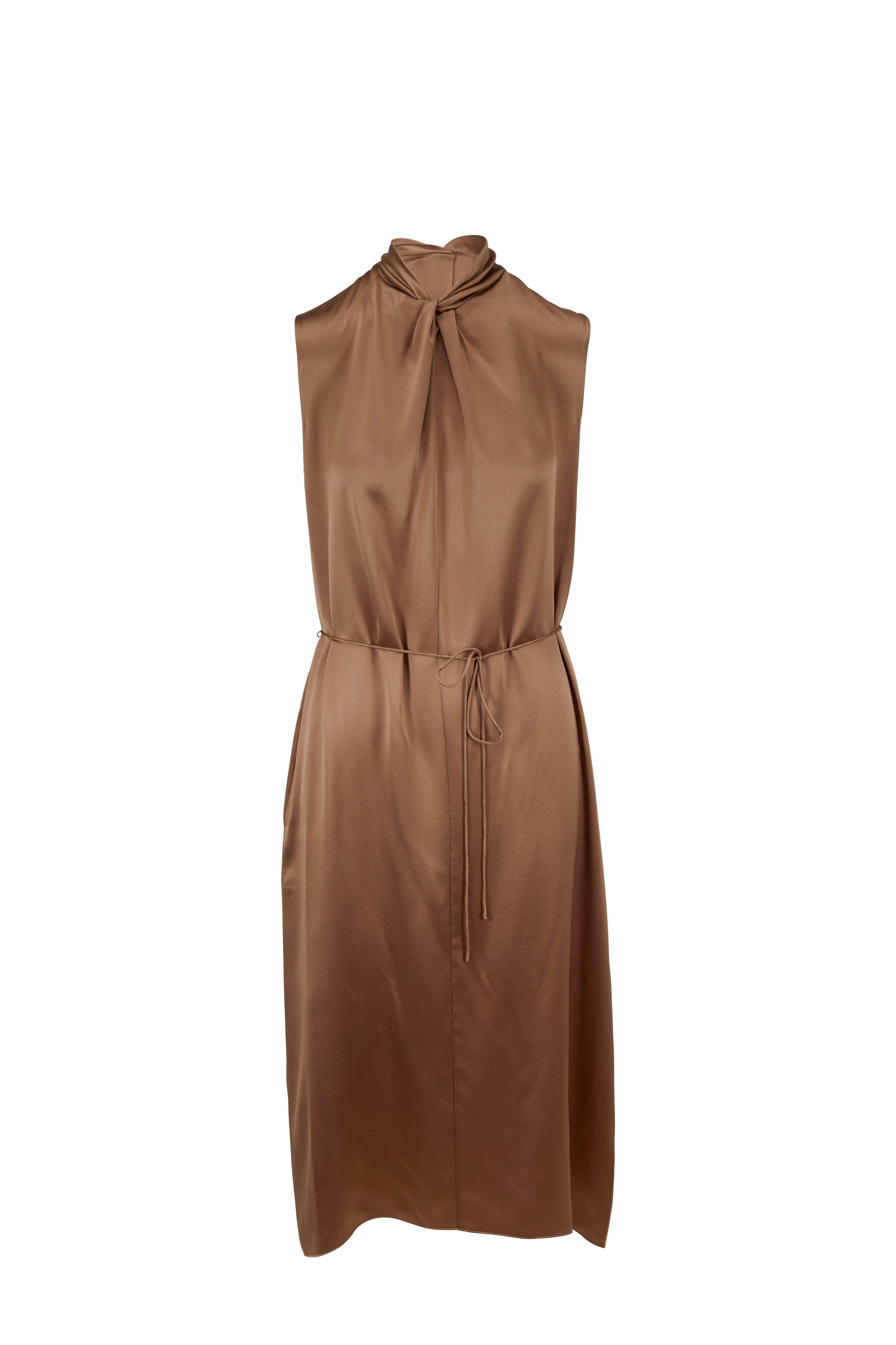 e9d733ec440fd Vince - Earth Silk Satin Knot Neck Sleeveless Dress