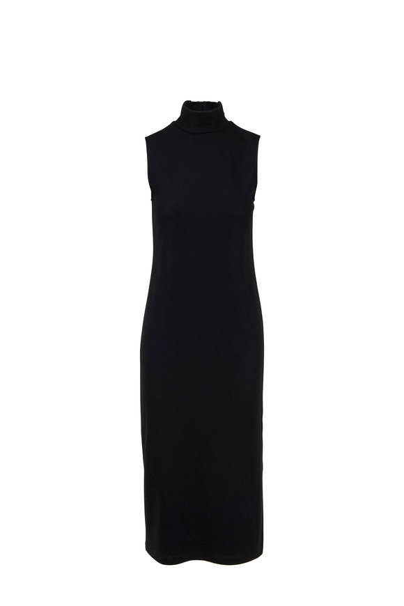 Vince Black Turtleneck Sleeveless Dress