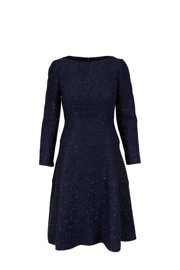 Lela Rose Navy Blue Sequin Long Sleeve Dress