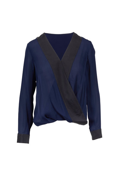 L'Agence - Kyla Navy & Black Silk Draped Blouse