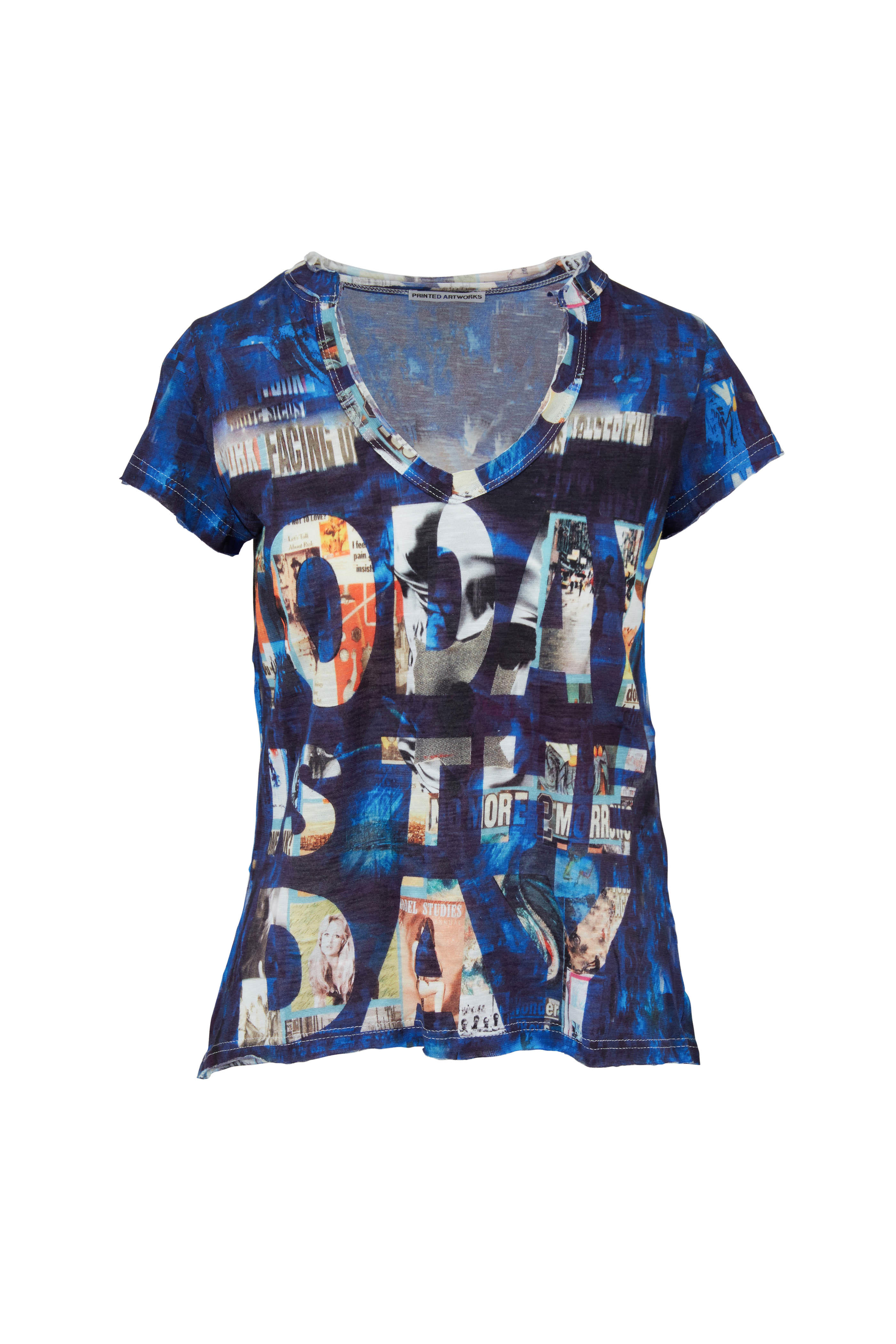 Printed Artworks Blue Today Print V Neck T Shirt Mitchell Stores