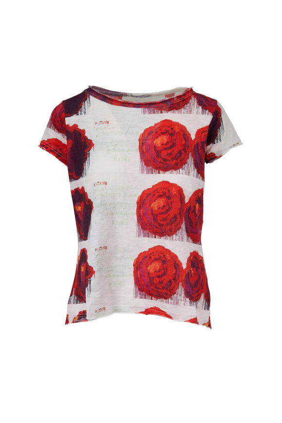 Printed Artworks Ivory & Red Rose Printed T-Shirt