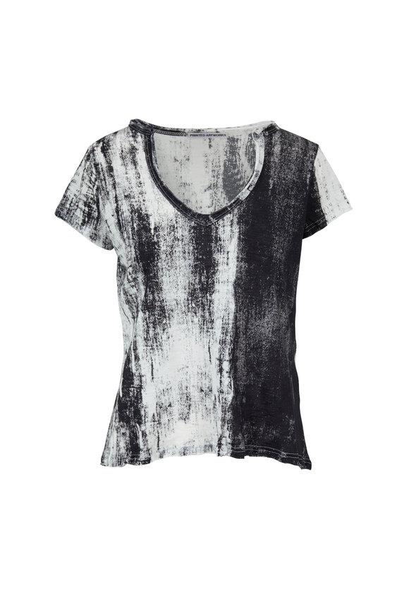 Printed Artworks Black & White Printed V-Neck T-Shirt