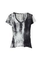 Printed Artworks - Black & White Printed V-Neck T-Shirt