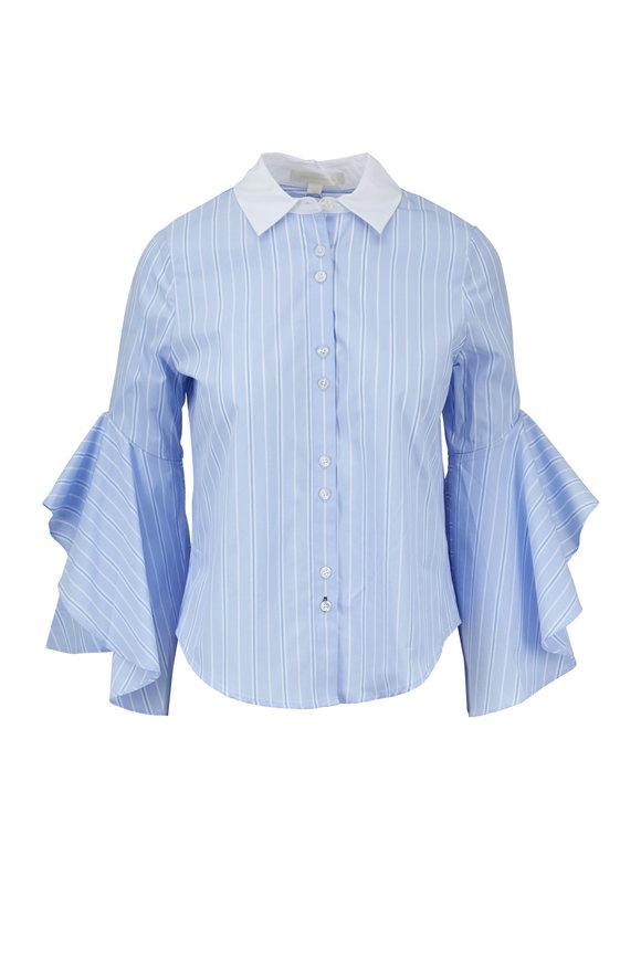 Jonathan Simkhai Light Blue & White Striped Ruffle Sleeve Shirt