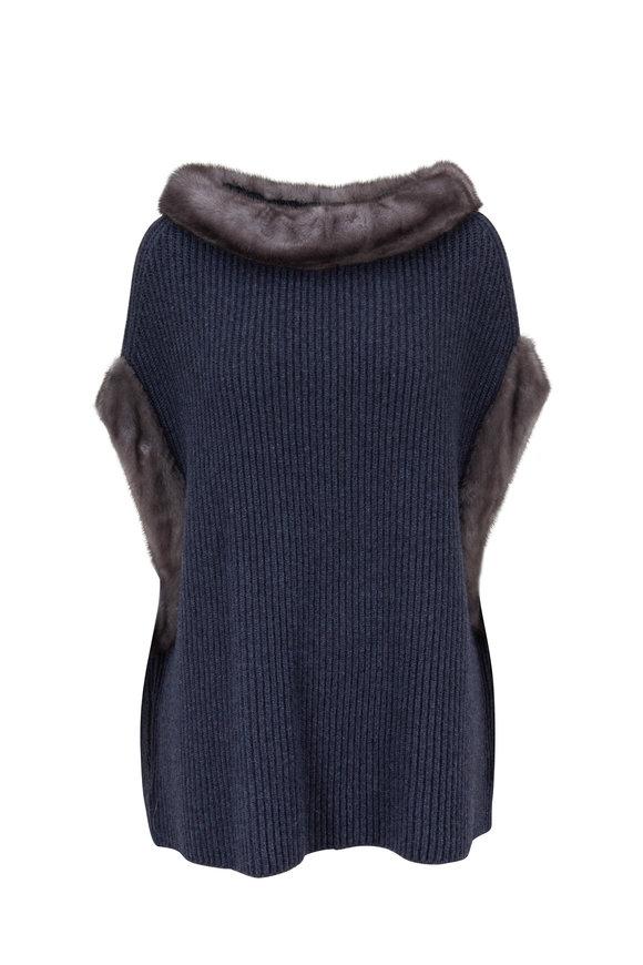 Oscar de la Renta Furs Blue Cashmere Mink Trim Poncho Sweater