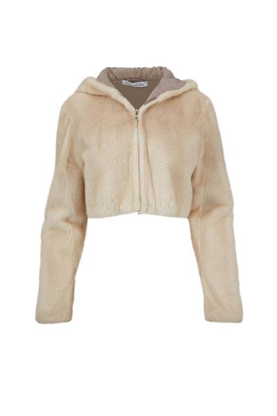 Oscar de la Renta Furs - Palomino Mink Cropped Hooded Jacket