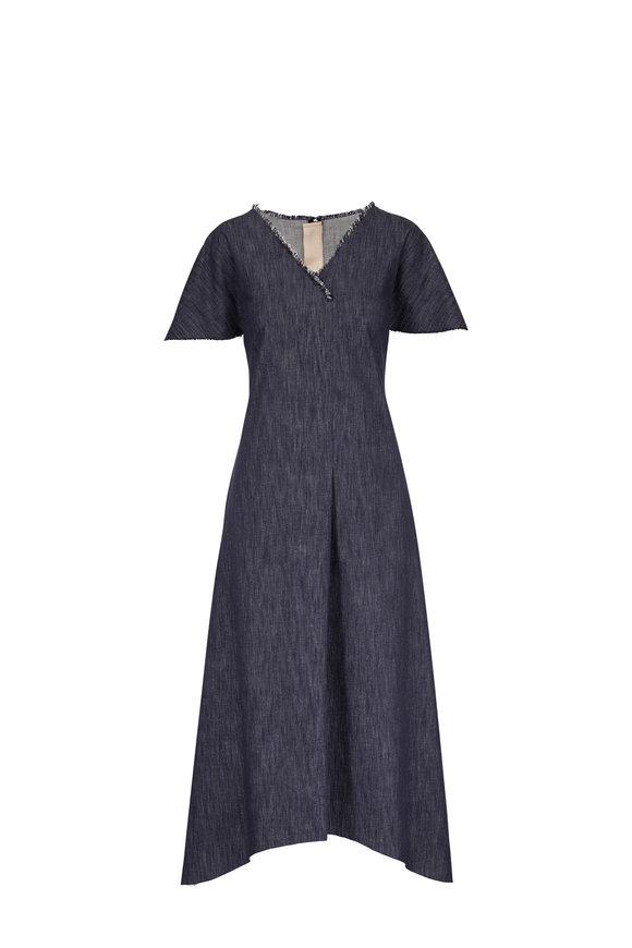 Olivine Gabbro Denim Flutter Sleeve A-Line Dress
