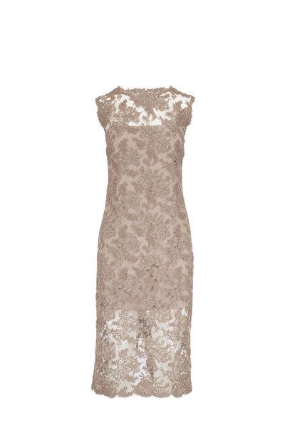 Olivine Gabbro - Alencon Taupe Lace Sleeveless Dress